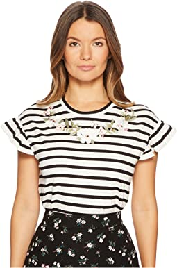 Embroidered Ruffle T-Shirt
