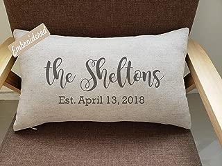 Rudransha Pillowcase Family name Pillow,2nd anniversary gift,Date Pillow,Realtor Gift,personalized wedding date pillow, cotton anniversary gift,custom pillow,wedding gift