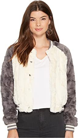 Jack by BB Dakota - Aisen Swirly Textured Faux Fur Color Blocked Bomber