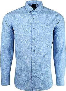 3XL TROJAN TR//8233 Paisley Blu Navy a maniche corte button-down shirt Taglia media