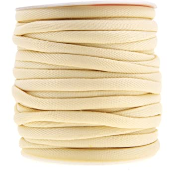 Mandala Crafts Welt Cord, Polyester Cotton Piping Filler for Drapery, Pillow, Upholstery, Trimming, Sewing, Crafting (1/4 Inch or 6mm, 20 Yards, Natural)