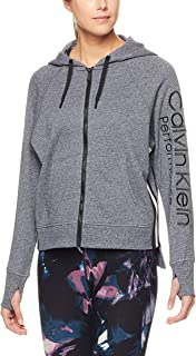 CALVIN KLEIN Women's Logo Hoodie with Tape, Black Heather/Cameo, L