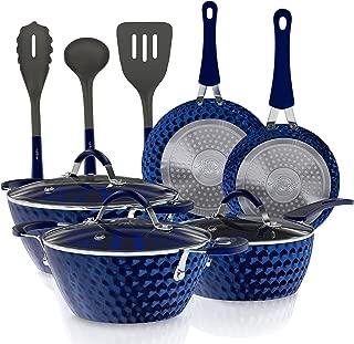 11-Piece Nonstick Kitchen Cookware Set - Excilon Blue Diamond Ceramic Home Kitchen Ware Pots and Pan Set with Saucepan, Frying Pans, Cooking Pots, Dutch Oven Pot, Lids, Utensil - NutriChef NCCW11DS
