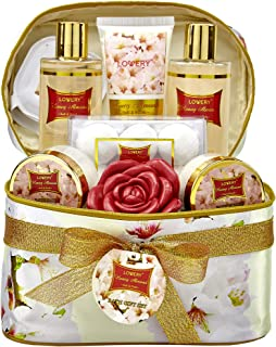 Bath and Body Gift Basket For Women – Honey Almond Home Spa Set with Fragrant Lotions, 6 Bath Bombs, Reusable Travel Cosme...