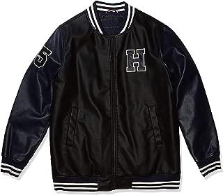 Men's Faux Leather Varsity Logo Bomber Jacket, Big & Tall