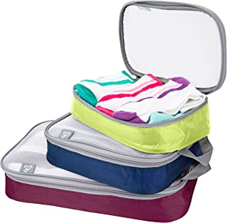 Travelon Set of 3 Lightweight Packing Organizers, Bolds