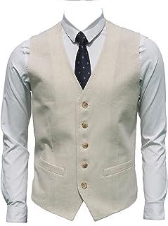 Ruth&Boaz Men's Linen Blend 2Pockets 5Buttons Summer Waistcoats