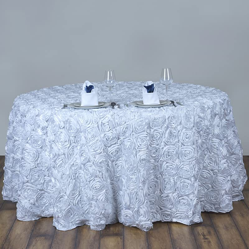 BalsaCircle 120 White Satin Raised Rosettes Round Tablecloth Wedding Party Dining Room Table Linens