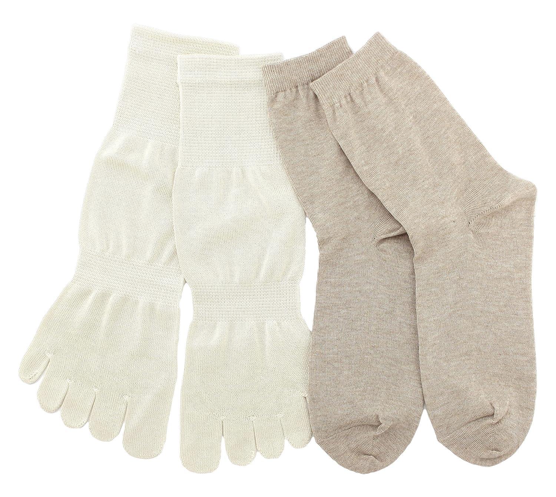 温むすび 冷えとり靴下 シルク 【冷えとり入門お試し2足セット カラープラス 25~26cm】 5本指 重ね履き 冷え取り 冷えとり 靴下 ソックス シルク100% 絹 日本製