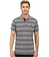 U.S. POLO ASSN. - Short Sleeve Balanced Stripe Pique Polo Shirt