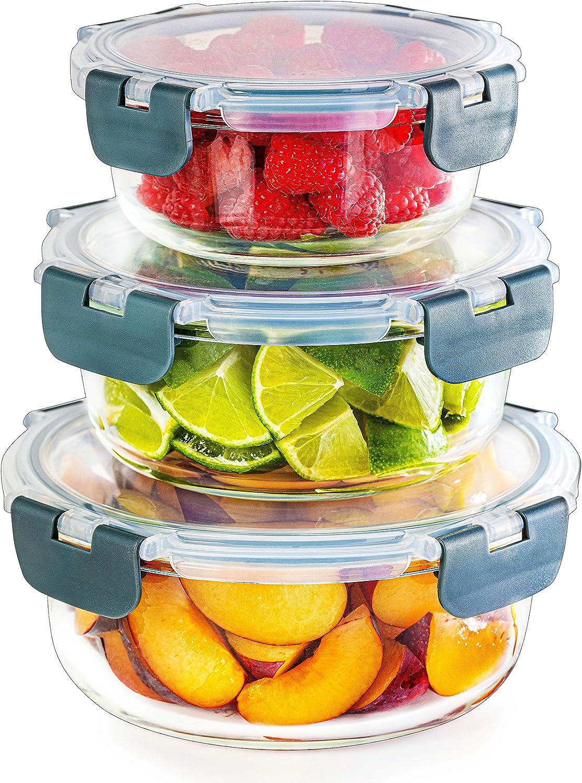 Igluu Meal Prep – Set De 3 Contenedores De Vidrio Para Comida Redondos Y Apilables – Apto para microondas, congelador, horno y lavavajillas, libres de BPA – Tapas herméticas de varias dimensiones