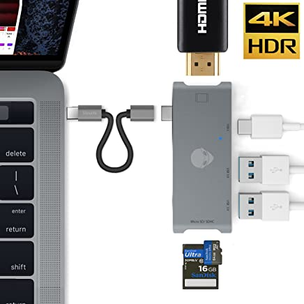 Stouch USB C HDMI HUB Adapter for MacBook Pro 2015/2016, 7 in 1 USB 3.1 USB-C to type C Charge Port ,HDMI Output, SD + MicroSD Card Reader and 2-Ports USB 3.0 Space Gray