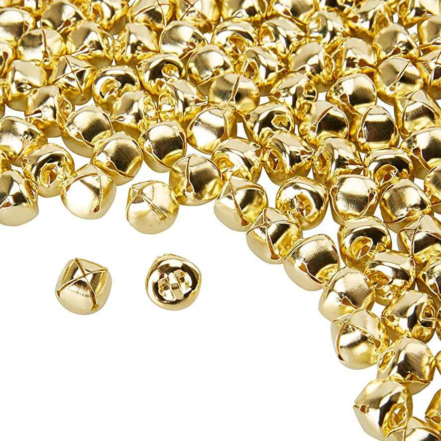 Jingle Bells - 200-Count Craft Bells, Christmas Sleigh Bells for Wreath, Holiday, Wedding, Home, Pet Collars Decoration, Accessories Keychain, DIY Art Crafts, Gold Metal, 0.5 x 0.5 x 0.5 Inches