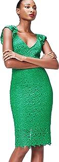 Marca Amazon - find. Vestido Midi Ajustado de Encaje Mujer