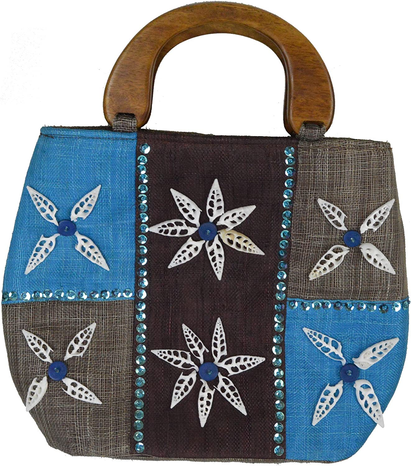14 L Fiji Brown bluee ToteStyle Handbag with Flower Seashell Inlay and Double Roble Wood Handles
