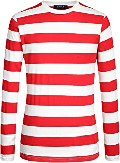 SSLR Men's Cotton Crew Neck Casual Long Sleeves Stripe T-Shirt