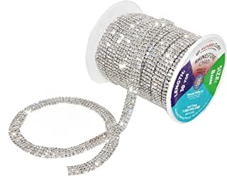 Mandala Crafts Rhinestone Cup Chain Trim Roll for Jewelry Making, Clothes, Glass Crystal Glam Decor, Simulated Diamond Beaded Bling Wraps, Veils, Cakes (4 Row 2mm 10 Yards 1 Roll, Clear)