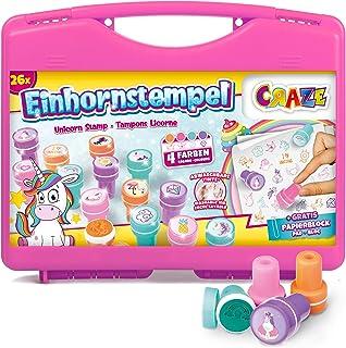 CRAZE Zestaw stempli z 26 pieczątkami dla dzieci z motywem jednorożca, zestaw stempli wraz z papierowym blokiem w walizce,...