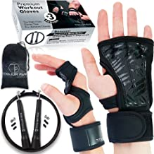 Titanium Peak Crossfit Gloves & Workout Gloves with Wrist Support + Silicone Leather Padding to Avoid Calluses for Men & Women & Speed Jump Rope for Gym Workout Wrapped in a Premium Gift Box