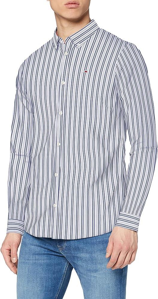 Tommy hilfiger tjm stripe stretch, camicia slim fit per uomo, manica lunga,  97% cotone, 3% elastan DM0DM07925A