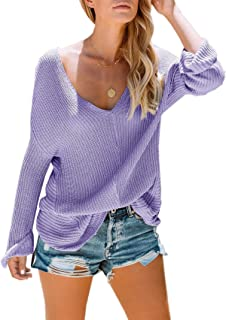 Womens Off The Shoulder Sweater Rib Knitted Sexy Loose Pullover Blouse