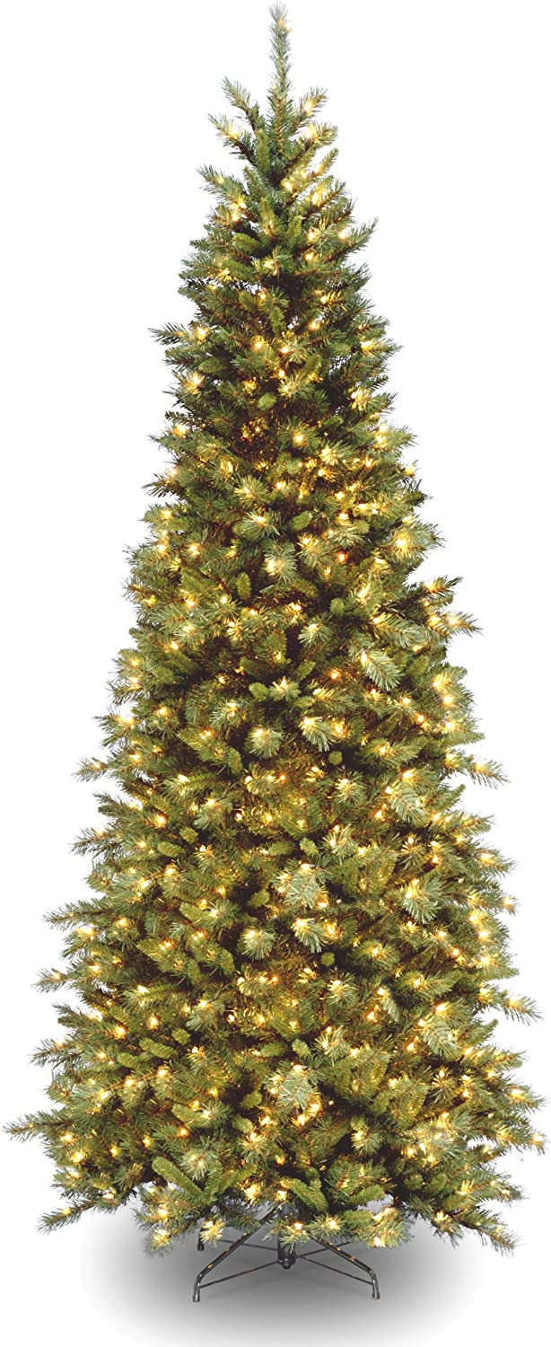 National Tree Company Pre-lit Artificial Christmas Tree   Includes Pre-strung White Lights and Stand   Tiffany Fir Slim - 9 ft