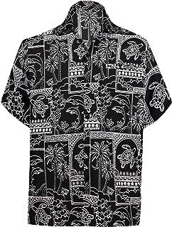 LA LEELA Men's Regular Fit Hawaiian Shirt Swim Short Sleeves Loose Fit Printed C