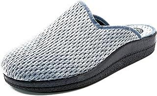 Pantofole Donna Estar a Casa La Catena, in Rafia Colore Blu, Larghezza Speciale, Inverno 76101-13