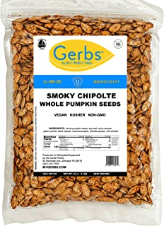 Smokey Chipotle Whole Pumpkin Seeds, 2 LBS by Gerbs – Top 14 Food Allergy Free & Non GMO - Vegan & Kosher Certified - Dry Roasted Seasoned In-Shell Pepitas from United States