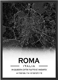 Mappa Citta' Personalizzata con Cornice - Quadro varie dimensioni vari colori Made in Italy Poster Mod.A col7