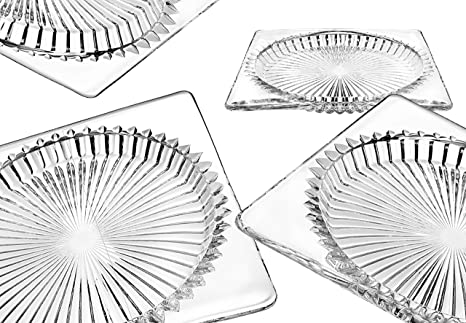 Crystal Prism Canape Appetizer, Salad, Dessert Plate - Set of 4 - 6 inches