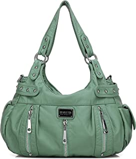 Satchel Handbag for Women, Ultra Soft Washed Vegan Leather Crossbody Bag, Shoulder Bag, Tote Purse, H1292