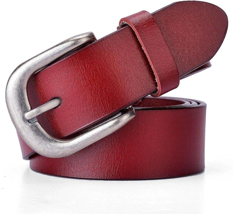 Ayli Womens Classic Metal Buckle Solid color Top Grain Genuine Leather Jean Belt