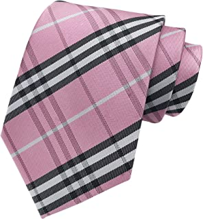 Men's Brown Black White Checks Jacquard Woven Silk Tie Formal Necktie