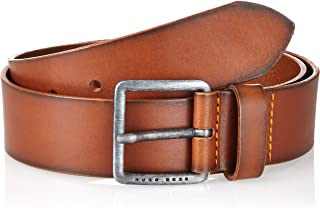 BOSS Mens Jeeko Sz40 Smooth-leather belt with brushed-effect buckle