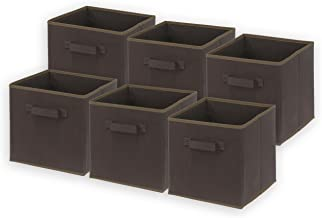 (Brown) - SimpleHouseware Foldable Cube Storage Bin, Brown - 6 Pack