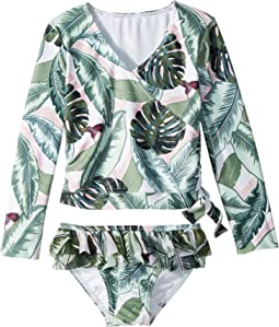 Seafolly Kids - Palm Beach Long Sleeve Ballet Rashie Set (Toddler/Little Kids)