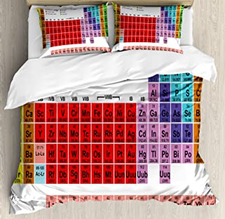 Ambesonne Periodic Table Duvet Cover Set, Kids Children Educational Science Chemistry for School Students Teachers Art, Decorative 3 Piece Bedding Set with 2 Pillow Shams, Queen Size, White Red