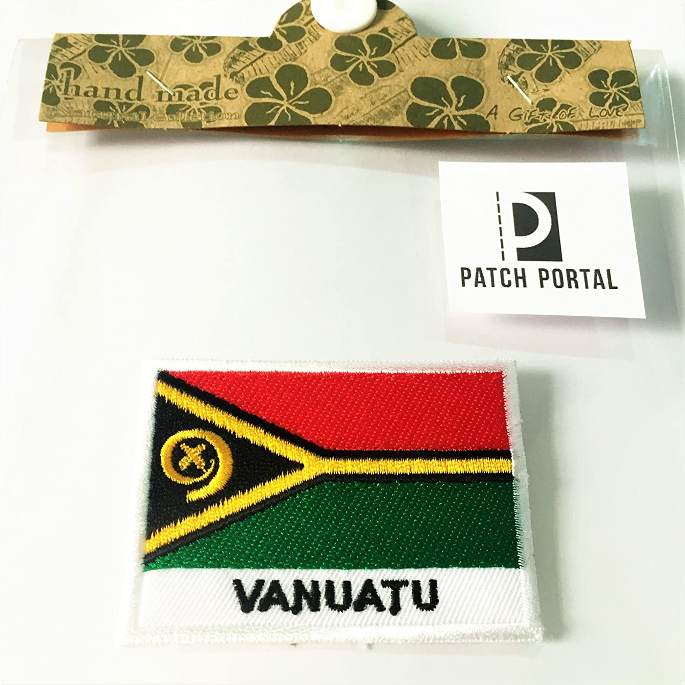 Patch Portal Vanuatu Flag 2x3 Inch Emblem Sew On Travel Patches Embroidered Country Badge Islands Aloha Crest Embroidery for Tshirt Jackets Bikers Men Women Backpacks Hats