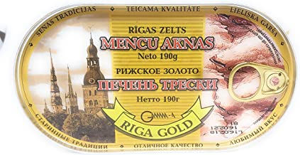 RIGA GOLD Riga Zelts Canned Cod Liver In Oil - 6.7 Ounce - 3 PACK The BEST COD LIVER IN OIL!
