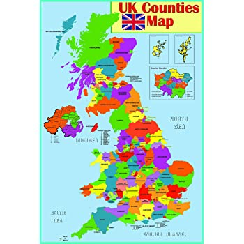 Immagini Della Cartina Del Regno Unito.Poster Da Parete Laminato Educativo Delle Contee Del Regno Unito Gb Gran Bretagna Countties Poster Amazon It Cancelleria E Prodotti Per Ufficio