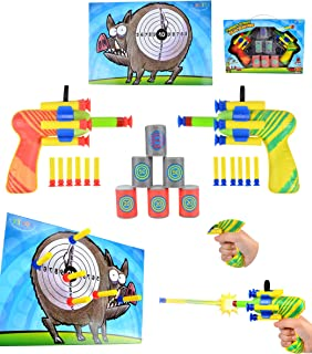Joyin Toy Dual Battle Blasters Precision Target Set with Hunter Barrels Bullet Target and Dartboard