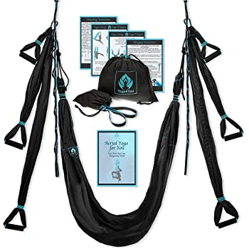Yoga4You Aerial Yoga Swing Set - Yoga Hammock Swing - Trapeze Yoga Kit - 2 Extension Straps - Wide Flying Yoga Inversion Tool - Antigravity Ceiling Hanging Yoga Sling - Adult Kids Arial