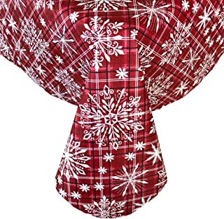 Newbridge Snowfall Snowflake Plaid Christmas Print Vinyl Flannel Backed Tablecloth, Contemporary Snowflake Design Xmas Tablecloth, 70 Inch Round, Red
