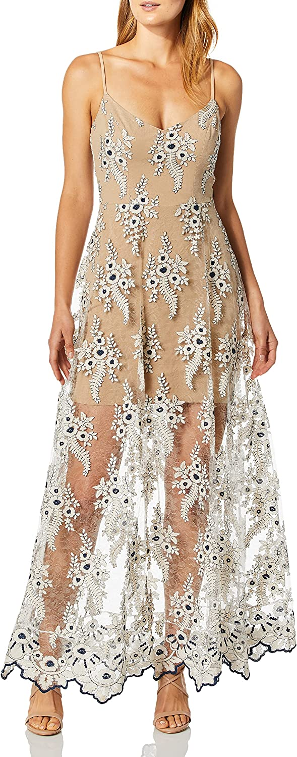 Dress the Population Women's Embellished Plunging Gown Sleeveless Floral Long Dress, Ivory/Navy Carla, M