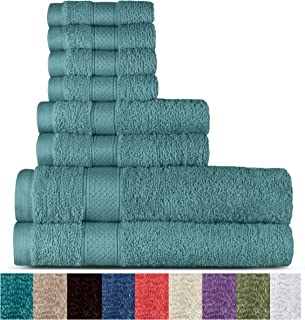 Welhome 100% Cotton 8 Piece Towel Set (Duck Egg); 2 Bath Towels, 2 Hand Towels and 4 Washcloths, Machine Washable, Super Soft