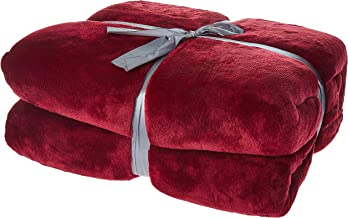 Polyester King Size Solid Pattern,Red - Blankets