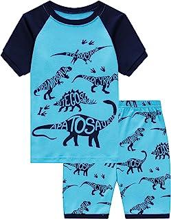 Family Feeling Little Boys Train 2 Piece Pajamas Shorts 100% Cotton
