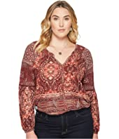 Lucky Brand - Plus Size Mixed Print Top
