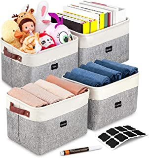 Artsdi Foldable Storage Bin With 8 Labels and a Pen | Large Collapsible Sturdy Cationic Fabric Storage Basket Cube With Ha...